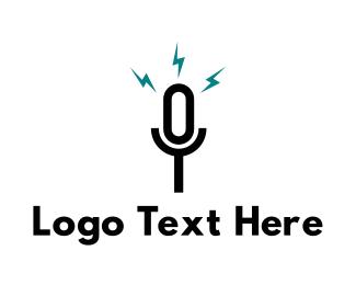 Speaker - Black Microphone logo design