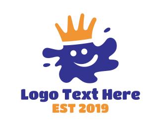 Paint - Smiling Happy Paint King logo design