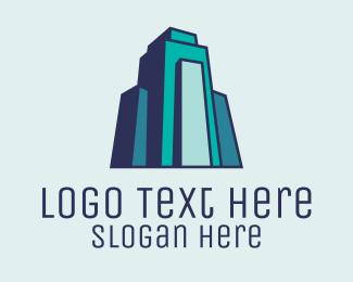 Building - Teal Modern Building  logo design