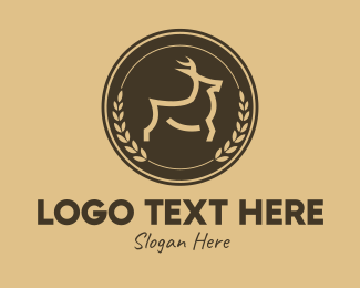 Stag - Brown Deer Laurel Wreath  logo design