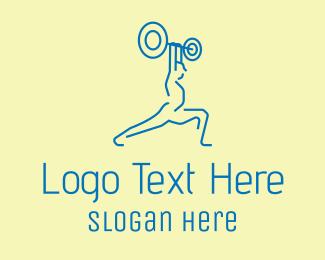 Training - Blue Bodybuilder Training logo design