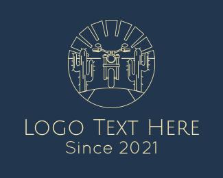 Auction - Desert Motorcycle logo design