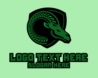 Mythical - Green Ram Mascot logo design