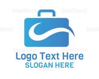 Briefcase - Blue Modern Briefcase  logo design