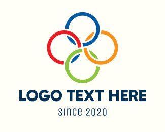 Olympic - Multicolor Interlinked Rings logo design