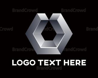 Dynamic - Chrome Hexagon U logo design