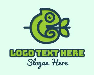 Twig - Forest Cute Chameleon logo design