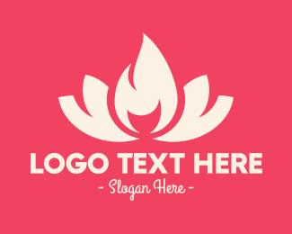 Fire - Pink Fire Lotus logo design
