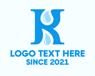 Blue Drop - Letter K Drops logo design