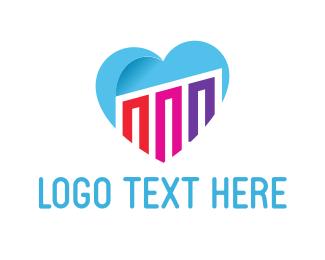 Hope - Light Blue Heart Love logo design