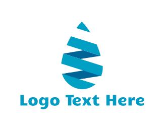 Droplet - Ribbon Droplet logo design