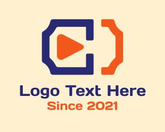 Tv Show - Play Film Ticket  logo design
