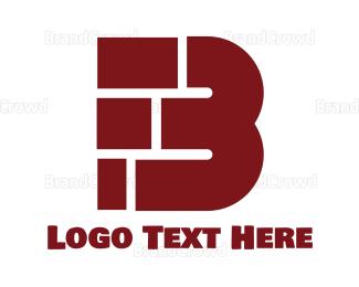 Brick - Dark Red Bold B logo design
