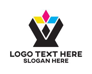 Triangular - Colorful Diamonds logo design