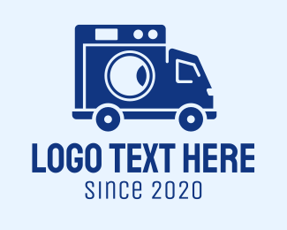 School Bus - Blue Laundry Van logo design