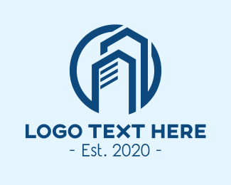 Property Builder - Blue Corporate Tower logo design
