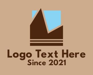 Hiking Gear - Geometric Mountain Sky  logo design