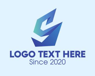 Events Space - 3D Blue Origami Letter S  logo design