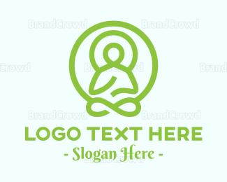 Meditation - Green Buddha logo design