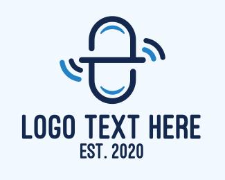 Caplet - Blue Medicine Signal Letter E logo design