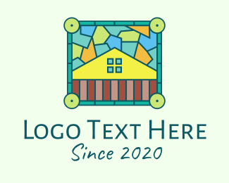 Motel - Stained Glass Rural House logo design