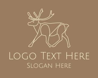 Forest Animal - Moose Monoline logo design