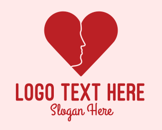 Online Dating - Man Face Heart  logo design