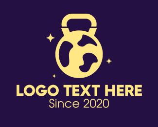 Sparkling - Sparkling Kettlebell Globe logo design