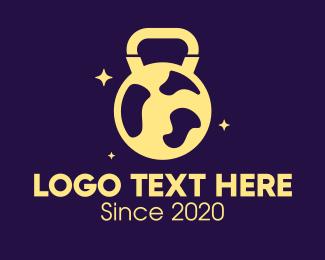 Galactic - Sparkling Kettlebell Globe logo design