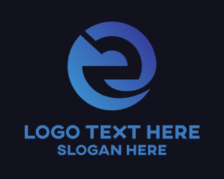 Call Center - Blue Gradient Letter E Circle logo design