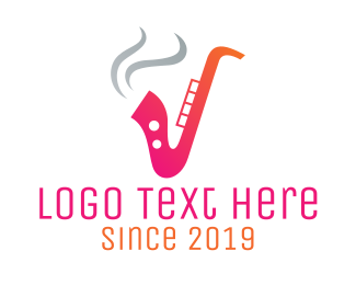 Smoker - Smoking  Music Saxophone logo design