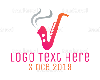 Blues - Smoking Saxophone logo design