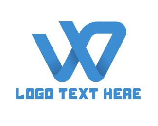 Swoosh - Blue W Swoosh Brand logo design