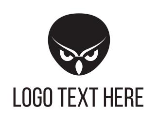 Anonymous - Black Owl Head logo design