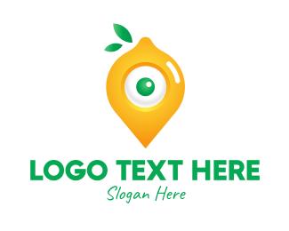 Geolocator - Lemon Location Pin logo design