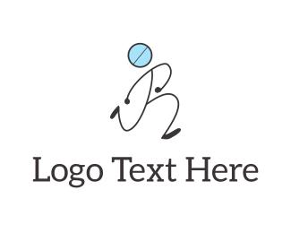 Letter R Pill Man Logo