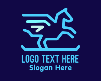 Mythical - Blue Pegasus logo design