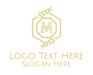 Gold Hexagon - Luxurious Laurel Lettermark logo design