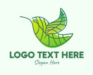 Finch - Green Leafy Bird logo design