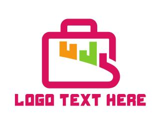 Business Trip - Pink Statistics Baggage  logo design