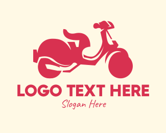 Riding - Red Scooter logo design