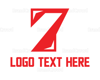 Red And White - Red Number 7  logo design