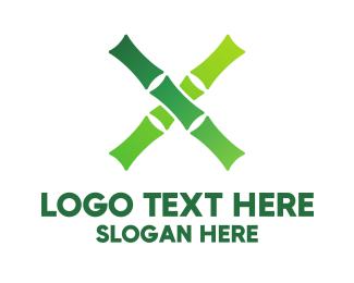 Bamboo - Organic Bamboo Letter X logo design