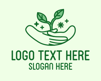 Nature Conservation - Garden Seedling Hands logo design