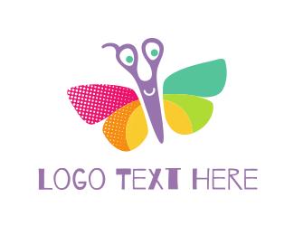 Cut - Butterfly Scissors logo design