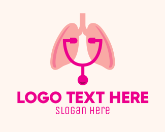 Breathe - Pink Lungs Check Up logo design