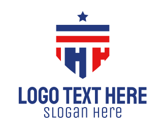 Military Academy - Patriotic Shield Letter H logo design