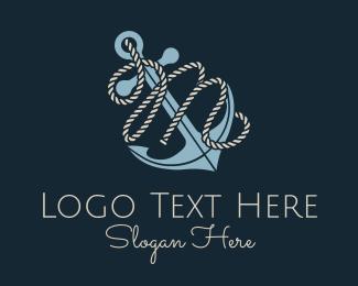 M - Anchor Rope Letter M logo design