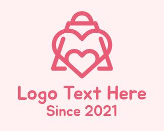 Shop - Pink Lovely Shopping Bag logo design