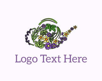 Herb - Floral Teapot  logo design